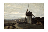 A Windmill, Etretat, 19th Century Giclee Print by Jean-Baptiste-Camille Corot