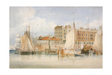 View of Billingsgate Wharf and Market with Vessels and People, City of London, 1824 Giclee Print by James Lambert