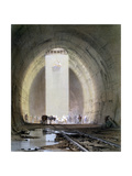 Construction of the Kilsby Tunnel on the London and Birmingham Railway, July 1839 Giclee Print by John Cooke Bourne