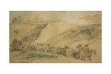 Army Waggons in a Ravine, C1837-1897 Giclee Print by John Gilbert