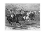 Native Cavalry Tent-Pegging in Sections, India, 1890 Giclee Print by John Charlton
