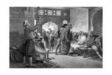 A Barber's Shop in Tunis, 1875 Giclée-tryk af John Evan Hodgson