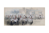 Mounted Escort at St James's Palace, London, 1848 Giclee Print by John Gilbert