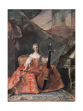 Madame Henriette De France in Court Costume Playing a Bass Viol, 1754 Giclee Print by Jean-Marc Nattier