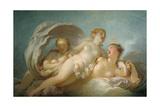 The Three Graces, 18th Century Reproduction procédé giclée par Jean-Honore Fragonard