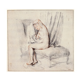 Nude Woman Sitting on a Chaise Longue, Putting on Her Shirt, 18th Century Giclee Print by Jean-Antoine Watteau