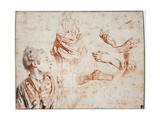 Study, 1716-1718 Giclée-tryk af Jean-Antoine Watteau