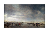 Ice Skaters, 1641 Giclee Print by Jan Van Goyen
