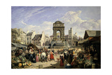 Market and Fountain of the Innocents, Paris, 1823 Giclee Print by John James Chalon