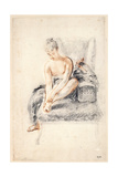 Young Woman, Nude, Holding One Foot in Her Hands, 1716-18 Giclée-tryk af Jean-Antoine Watteau