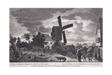 A Mill on Blackheath by Moonlight; Including Figures and a Windmill, Greenwich, London, 1770 Giclee Print by John June
