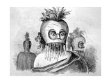 Hawaiian Man Wearing a Gourd Mask, 18th Century Giclee Print by John Webber