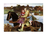 Sir Isumbras at the Ford, C19th Century Giclee Print by John Everett Millais