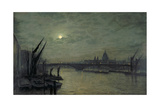 The Thames by Moonlight with Southwark Bridge, 1884 Giclee Print by John Atkinson Grimshaw