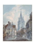 Oxford: St Mary's from Oriel Lane, 1792-1793 Stampa giclée di Joseph Mallord William Turner