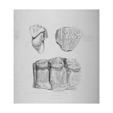 Remains of Two Roman Statues and an Inscription on Stone, 1850 Giclee Print by John Wykeham Archer