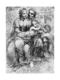 Cartoon of St Anne with Madonna and Child and St John, 15th Century Giclee Print by  Leonardo da Vinci