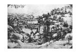 A Sketch of a Countryside View, 15th Century Giclee Print by  Leonardo da Vinci