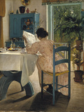 Breakfast with the Morning Newspaper, 1898 Gicléetryck av Laurits Andersen Ring