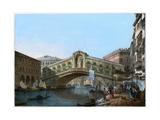 Rialto Bridge, Venice, Italy, 19th Century Giclee Print by  Kirchmayn