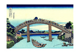 Under Mannen Bridge at Fukagawa' (From a Series 36 Views of Mount Fuj), 1830-1833 Giclee Print by Katsushika Hokusai