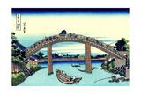 Under Mannen Bridge at Fukagawa' (From a Series 36 Views of Mount Fuj), 1830-1833 Giclee Print by Katsushika Hokusai