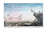 Launching a Ship at Brest, C1750-1810 Giclee Print by Nicolas Marie Ozanne