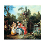 A Lady in a Garden Taking Coffee with Some Children, Probably 1742 Giclee Print by Nicolas Lancret