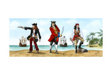 Anne Bonny, John 'Calico Jack' Rackam and Mary Read, 18th Century Pirates Giclee Print by Karen Humpage