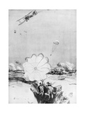Aeroplane Supplying Ammunition to the British Front Line, World War I, 1914-1918 Giclee Print by Joseph Simpson