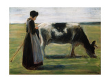 Girl with Cow, 19th Century Giclee Print by Max Liebermann