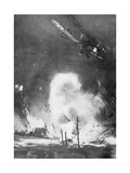 British Air Bombardment over the German Lines, World War I, 1914-1918 Giclee Print by Joseph Simpson