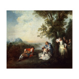 Company at the Edge of a Forest, Late 1720S Giclee Print by Nicolas Lancret
