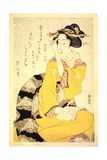 A Geisha Reading a Book, 19th Century Giclee Print by Kikukawa Eizan