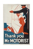 Thank You Mr Motorist, London County Council (LC) Tramways Poster, 1933 Giclee Print by JS Anderson