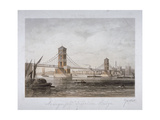 View of Hungerford Suspension Bridge and Boats on the River Thames, London, 1854 Giclee Print by Louis Julien Jacottet