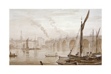 View of Blackfriars Bridge from the Surrey Shore, with Boats in the Foreground, London, C1825 Giclee Print by Luke Clennell