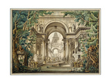 Procession in a Temple. Set Design for a Theatre Play, 18th or Early 19th Century Giclee Print by Louis Jean Desprez