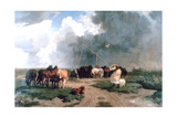 Horses in the Storm, 1862 Giclee Print by Karoly Lotz