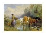 A Girl Driving Cattle across a Stream, 19th Century Giclee Print by Myles Birket Foster