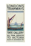 Tate Gallery, London County Council (LC) Tramways Poster, 1925 Giclee Print by Lance Cattermole