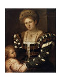 Portrait of a Lady with a Boy, 1530S Giclee Print by Paris Bordone