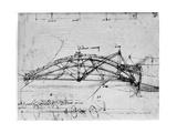 Design for a Parabolic Swing Bridge, 1480-1490 Giclee Print by  Leonardo da Vinci