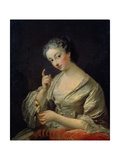 Lady with a Bird, 18th Century Giclee Print by Louis Michel Van Loo
