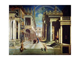 The Apparition of the Sibyl to Caesar Augustus, 1535 Giclée-tryk af Paris Bordone