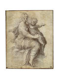 Madonna and Child on the Clouds, C1525 Gicleetryck av Parmigianino,