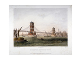 View of Hungerford Bridge from the East, London, 1854 Giclee Print by Louis Julien Jacottet