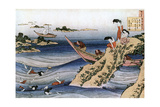 Oyster Fishing, C1785-1849 Giclee Print by Katsushika Hokusai
