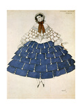 Chiarina, Design for a Costume for the Ballet Carnival Composed by Robert Schumann, 1919 Giclee Print by Leon Bakst