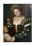 Portrait of a Lady with Her Son, Mid-1530S Giclee Print by Paris Bordone